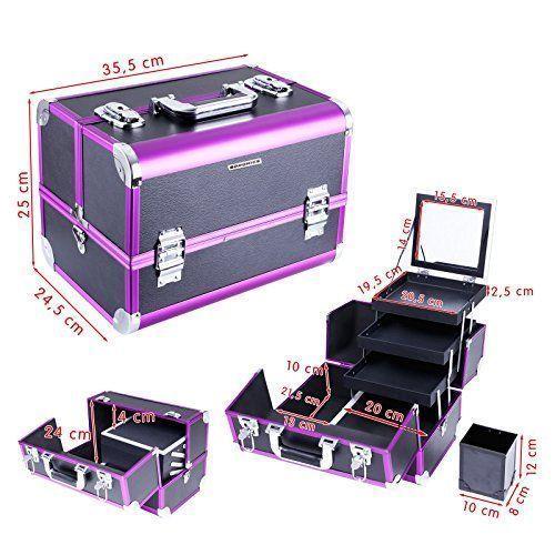 Dimensiones y compartimentos de estuche de Maquillaje profesional completo