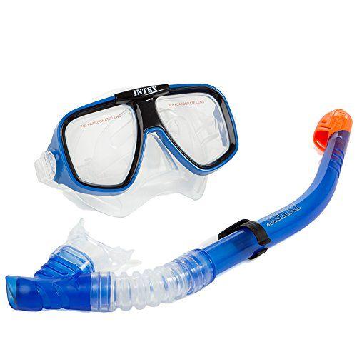 Intex - Tubo y máscara buceo policarbonato reef rider + 8a
