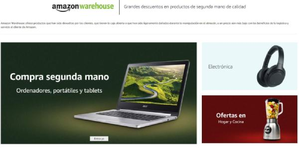 page d'accueil de l'entrepôt d'Amazon
